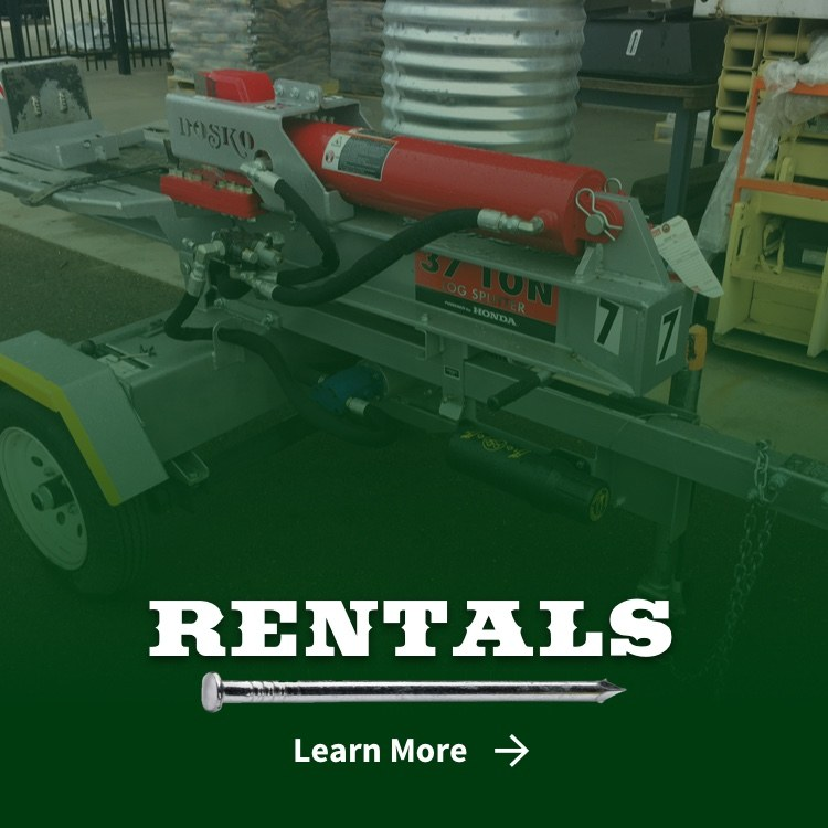 Log splitter in rental section at Woodland Hardware and Home