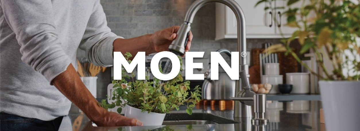 Moen logo with kitchen faucet