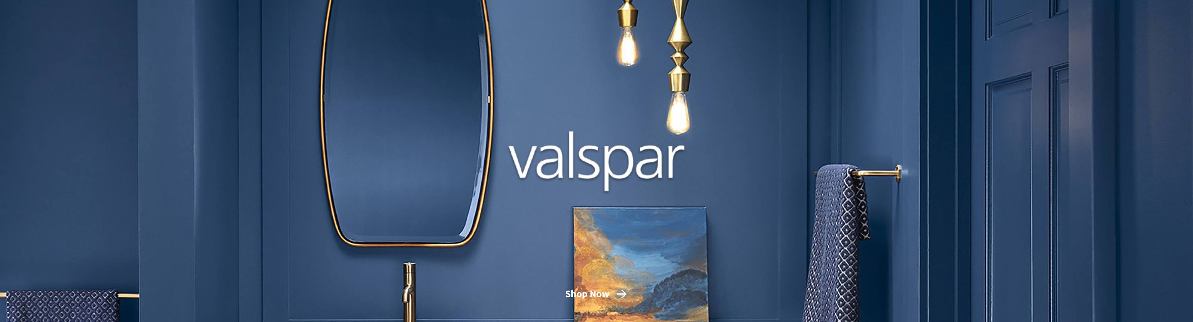 Blue Valspar paint on wall with logo