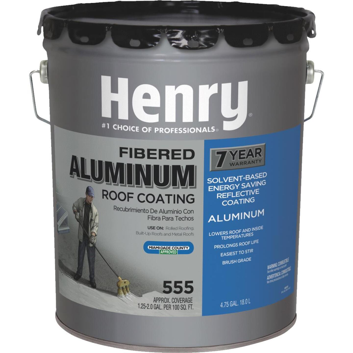 Henry 5 Gal. Fibered Aluminum Roof Coating Image 1