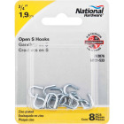National 3/4 In. Zinc Heavy Open S Hook (8 Ct.) Image 2
