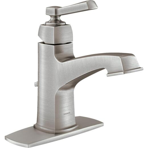 Moen Boardwalk Brushed Nickel 2-Handle Lever 4 In. Centerset Bathroom Faucet with Pop-Up