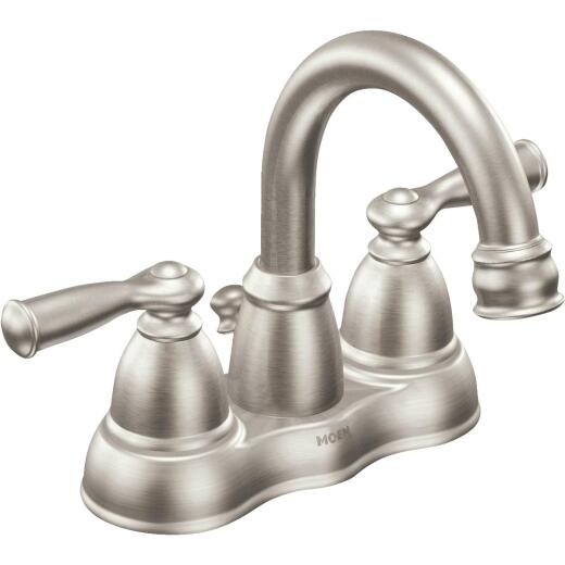 Moen Banbury Brushed Nickel 2-Handle Lever 4 In. Centerset Hi-Arc Bathroom Faucet with Pop-Up