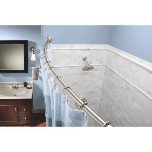 Moen Curved 57 In. To 60 In. Tension Shower Rod with Pivoting Flanges in Brushed Nickel